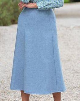 Sorrento Pure Wool Blue Marl Skirt
