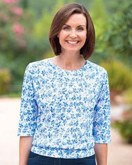 Melanie Multi Coloured Pure Silky Cotton Blouson Top