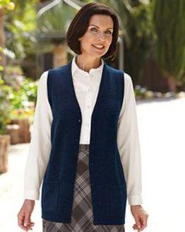 Lambswool Navy Longline Waistcoat