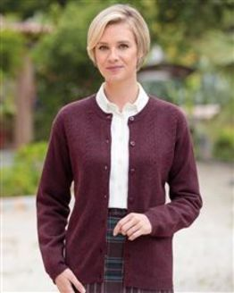 Lambswool Plum Cable Cardigan