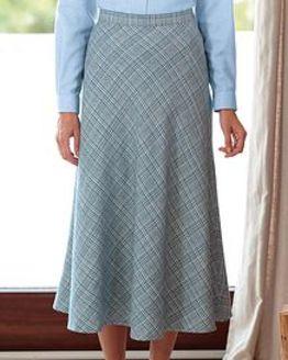 Rimini Checked Cotton Mix Bias Skirt