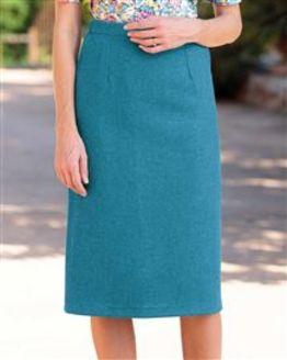 Naples Teal Pure Wool Tweed Straight Skirt