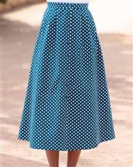 Polka Dot Patterned Pure Cotton Skirt