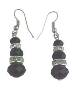 Jet & Diamante Earrings
