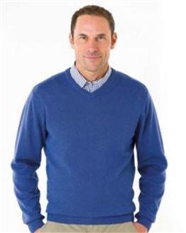 Cotton Sky Blue V Neck Sweater