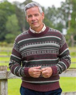 Burgundy Mix Shetland Fairisle Crew Neck Sweater Mens