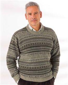 Green Shetland Fairisle Crew Neck Sweater Mens