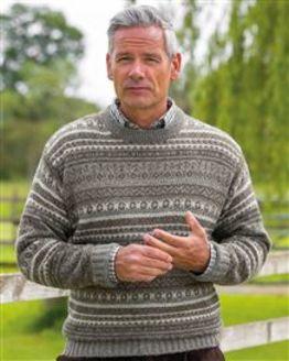 Grey Shetland Fairisle Crew Neck Sweater Mens