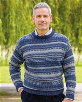 Blue Shetland Fairisle Crew Neck Sweater Mens
