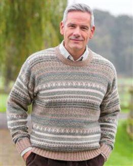 Natural Shetland Fairisle Crew Neck Sweater Mens