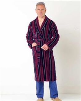 Stripe Velour Dressing Gown