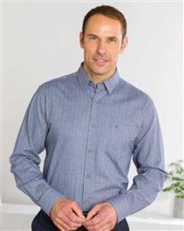 Brushed Cotton Mid Blue Shirt