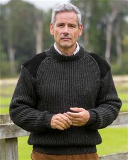 Charcoal Fishermans Rib Sweater Mens