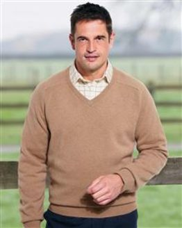 Lambswool Camel V Neck Sweater
