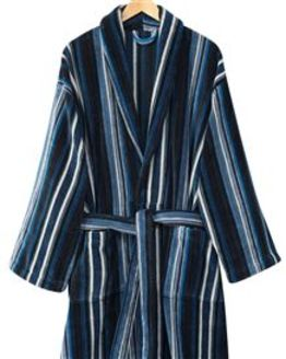 Striped Velour Cotton Dressing Gown