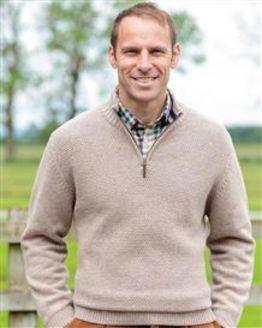 Cotton/Merino Natural Zip Neck Sweater Mens