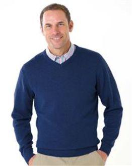 Cotton Navy V Neck Sweater