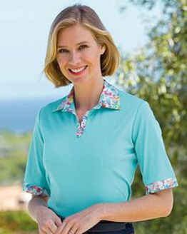Opal Pure Cotton Trimmed Short Sleeve Polo