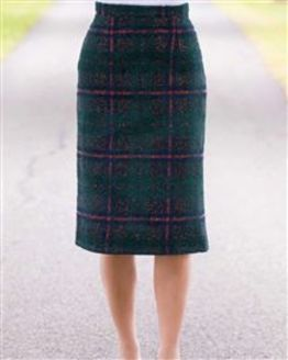 Melksham Wool Mix Checked Straight Skirt