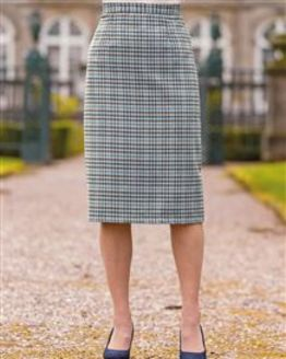 Cotswold Wool Blend Checked Straight Skirt
