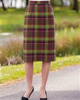 Barnwell Wool Blend Checked Straight Skirt
