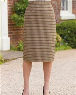 Melbourn Wool Blend Checked Straight Skirt
