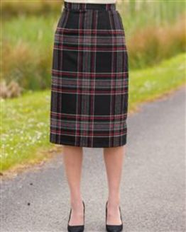 Linton Wool Blend Checked Straight Skirt