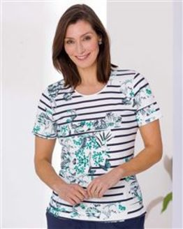 TIGI Floral Striped Top