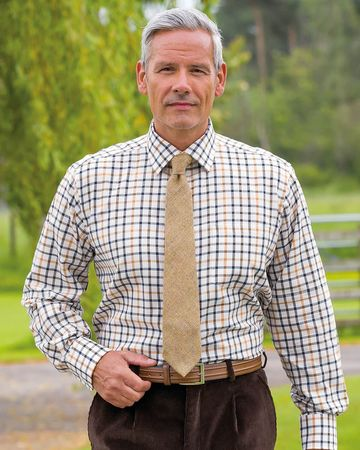 Ayr Tattersall Check Cotton & Wool Shirt
