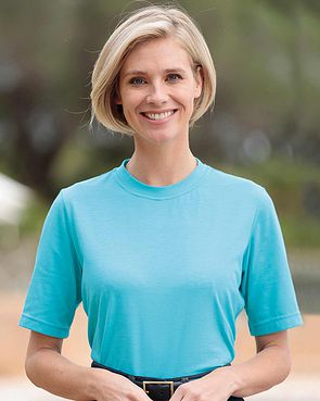 Silky Cotton Crew Neck Top - Turquoise