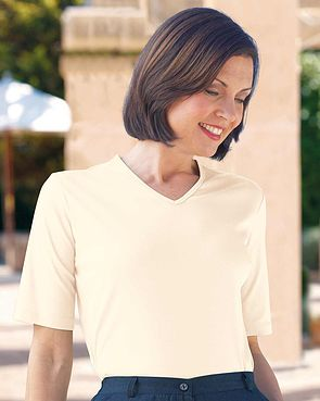 Silky Cotton V Neck Top - Cream