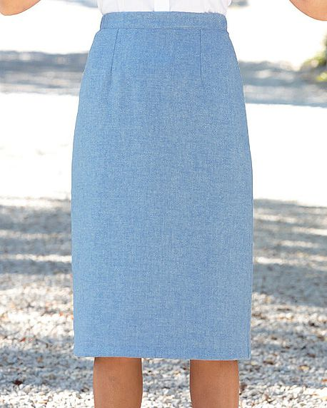 Sorrento Pure Wool Blue Marl Straight Skirt