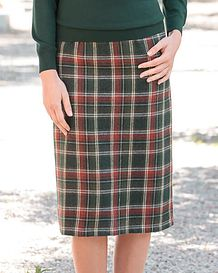 Tiree Multi Coloured Wool Blend Straight Skirt