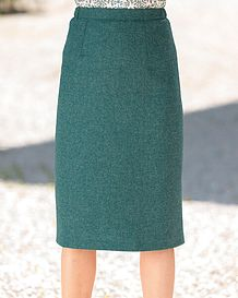 Dunbar Pure Wool Green Tweed Straight Skirt