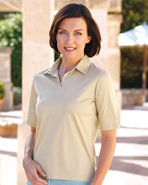Silky Cotton Ladies Polo Top - Champagne