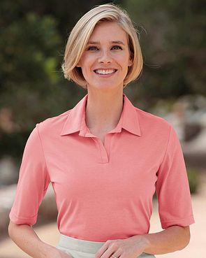 Silky Cotton Ladies Polo Top - Coral