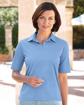 Silky Cotton Ladies Polo Top - Cornflower