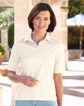 Silky Cotton Ladies Polo Top - Cream