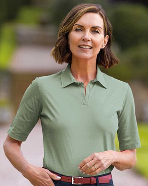 Silky Cotton Ladies Polo Top - Sage