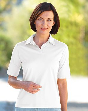 Silky Cotton Ladies Polo Top - White