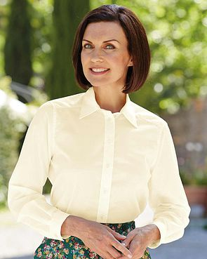 Easycare Long Sleeve Plain Polycotton Shirts - Cream