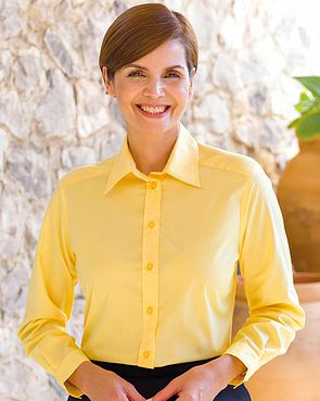 Easycare Long Sleeve Plain Polycotton Shirts - Lemon