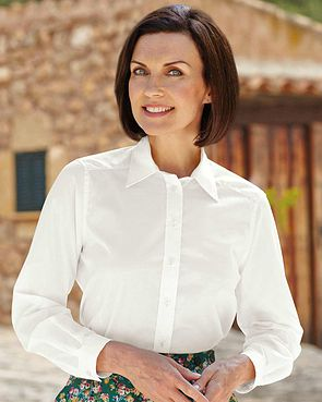 Easycare Long Sleeve Plain Polycotton Shirts - White