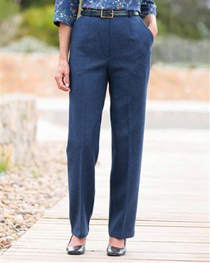 Tuscany Midnight Blue Pure Wool Tweed Trousers