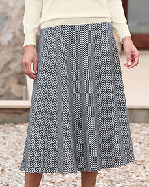 Oxford Black And White Checked Wool Mix Bias Skirt