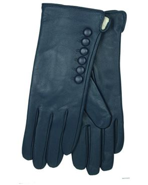 Leather Button Detail Gloves