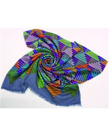 Geometric Multi Coloured Wool Scarf