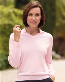 Merino Wool Light Pink Collared V Neck