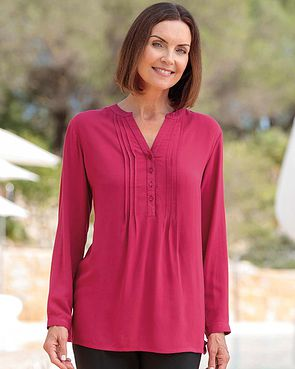 Evelyn Supersoft Viscose Pintuck Tunic - Cyclamen