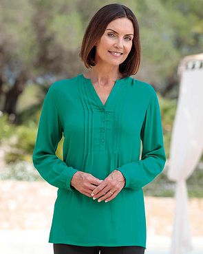 Evelyn Supersoft Viscose Pintuck Tunic - Jade